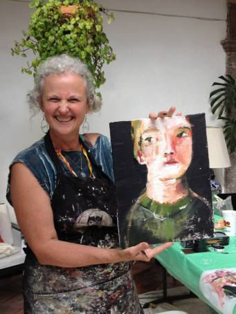 Katie sharing her version of the painting