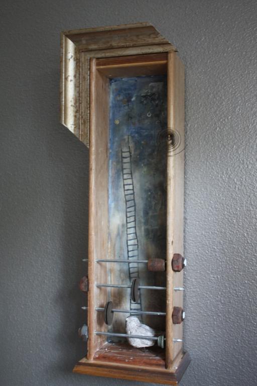 www.kathievezzani.com, plaster, encaustic, assemblage, bird, ladder